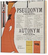 Poster For 'the Pseudonym And Autonym Libraries' Wood Print