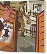 Poster Illustration Of An Outlaw Cowboy Wood Print