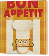 Poster With A Comic Chef. Vector Wood Print