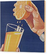 Poster With A Glass Of Orange Juice Wood Print