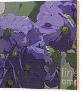 Posterised Flowers Wood Print