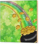 Pot Of Gold Shamrock Blurred Background Wood Print