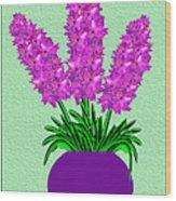 Pot Of Pink Flowers Wood Print