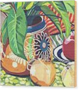 Pot With Onions Wood Print