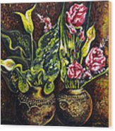 Pots And Flowers Wood Print