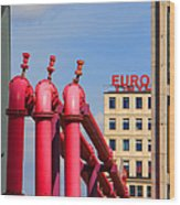 Potsdamer Platz Pink Pipes In Berlin Wood Print
