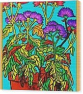 Potted Mums Framed Wood Print