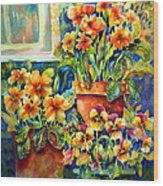 Potted Pansies II Wood Print by Ann  Nicholson