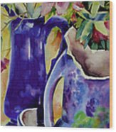 Pottery And Flowers Wood Print