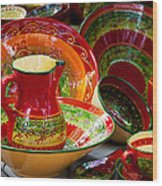 Pottery For Sale At A Market Stall Wood Print