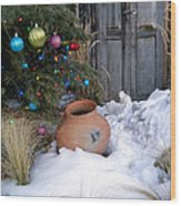 Pottery In Snow At Xmas Wood Print