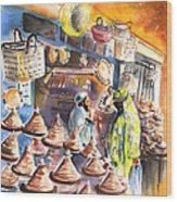 Pottery Seller In Essaouira Wood Print