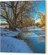 Poudre River Ice Wood Print by Baywest Imaging