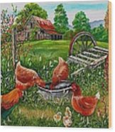 Poultry Peckin Pals Wood Print