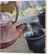 Pouring Japanese Tea Wood Print