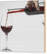 Pouring Red Wine Into Glass Wood Print