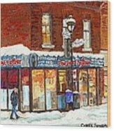 Poutine Lafleur Rue Wellington Verdun Art Montreal Paintings Cold Winter Walk City Shops Cspandau   Wood Print