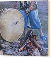 Pow Wow 58 Tuning The Drum Wood Print
