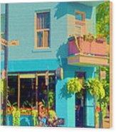 Powder Blue Corner Cafe Elses Pub Rue Roy  Montreal Sunny Summer Cafe Scene Carole Spandau Wood Print