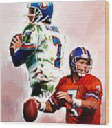Power Force John Elway Wood Print by Iconic Images Art Gallery David Pucciarelli