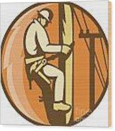 Power Lineman Electrician Climbing Utility Post Wood Print