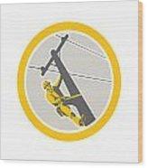 Power Lineman Repairman Climbing Pole Circle Wood Print by Aloysius Patrimonio