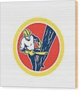 Power Lineman Repairman Harness Climbing Circle Wood Print