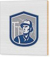 Power Lineman Repairman Shield Retro Wood Print by Aloysius Patrimonio