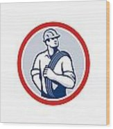 Power Lineman Wire Cable Circle Retro Wood Print
