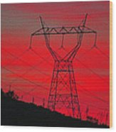 Power Lines Just After Sunset Wood Print