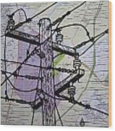 Power Lines On Map Wood Print