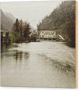 Power Plant On River Wood Print