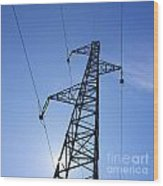 Power Pylon Wood Print by Bernard Jaubert