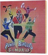 Power Rangers Samurai Wood Print