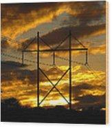 Power Switch Wood Print by Ella Char