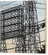 Power Tower Lines Wood Print