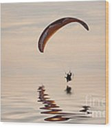 Powered Paraglider Wood Print