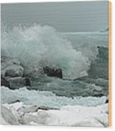 Powerful Winter Surf Wood Print
