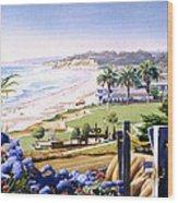 Powerhouse Beach Del Mar Blue Wood Print by Mary Helmreich