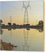 Powerline And Pylons Wood Print