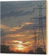 Powerline Sunset Wood Print