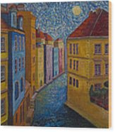 Prague A La Vangogh Wood Print
