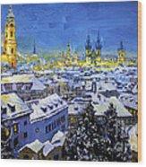 Prague After Snow Fall Wood Print