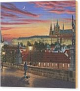 Prague At Dusk Wood Print
