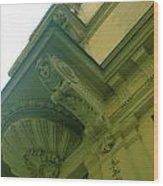 Prague Building In Green Wood Print