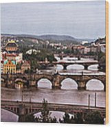 Prague Cityscape - Texture Wood Print