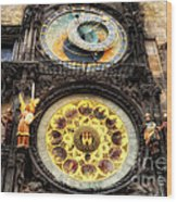 Prague Clock Orloj Wood Print