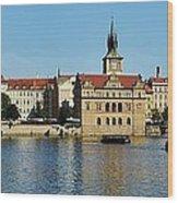 Prague East And Charles Bridge Wood Print