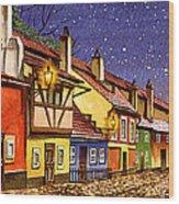Prague Golden Line Street  Wood Print