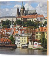 Prague Skyline Wood Print